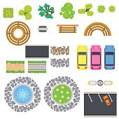 Top view landscape vector isolated objects