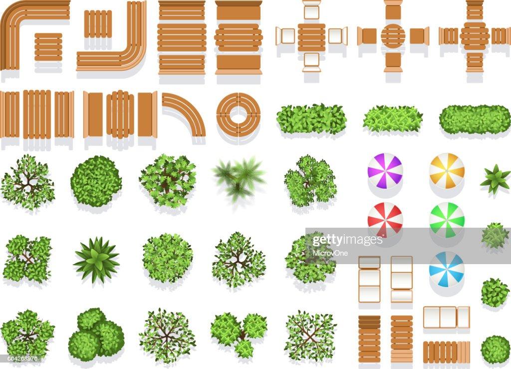 Top View Landscaping Architecture City Park Plan Vector Symbols