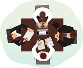 Top view of a business team