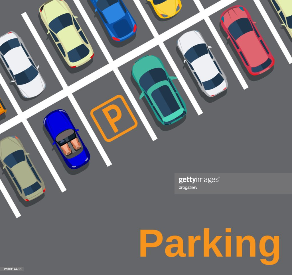 Top view of a city parking