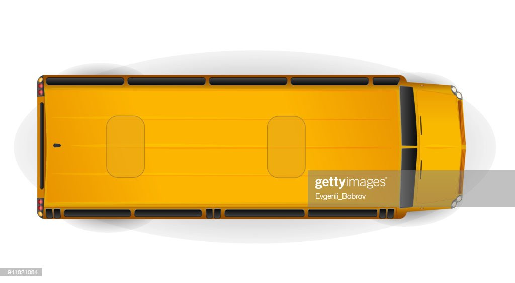 Top view of bright yellow realistic school bus isolated on white