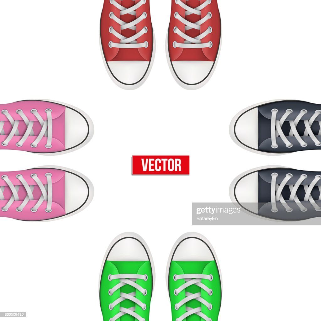 Top view of Colored sneakers.