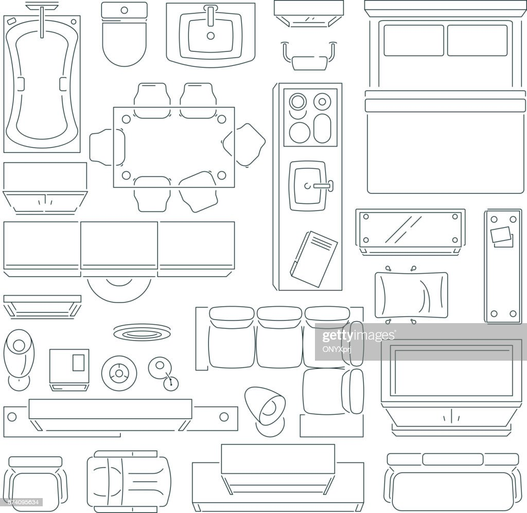 Top view of different furniture set for layout of the apartment. Vector mono line pictures set