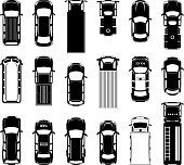Top view of different roof cars on the road. Black vector icons of automobiles