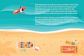 Top view of exotic sea beach with people and surfer. Bright color vector illustration.