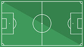 Top view of football field with shadow illustration. Vector of soccer ground background