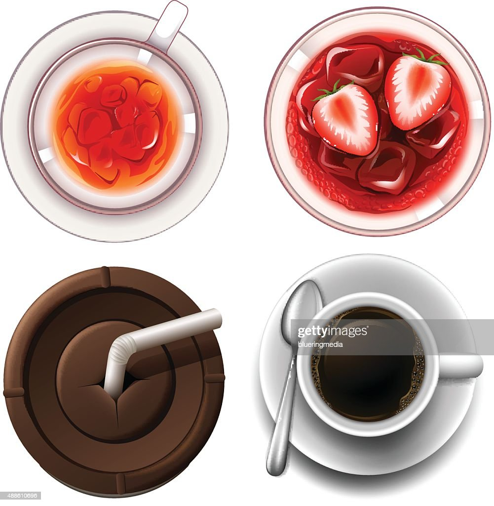 Top view of hot and cold drinks