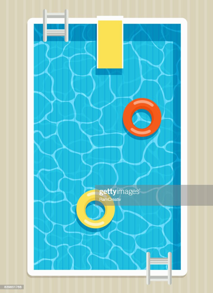 Top view of pool with inflatable circles.