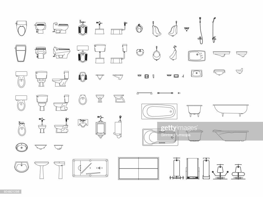 Top view of set furniture elements outline symbol for bathroom, toilet, restroom. Interior icon.