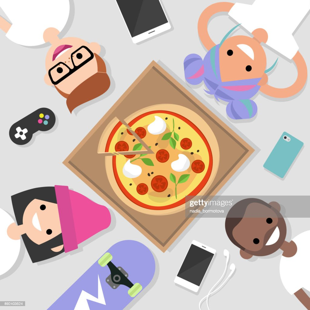 Top view of the group of millennials lying on the floor and eating pizza. Lifestyle. Generation z / flat editable vector illustration, clip art