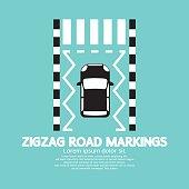 Top View Of Zigzag Road Markings.