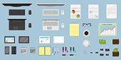 Top view office table workspace organization. Create your own style. EPS10 fully editable.