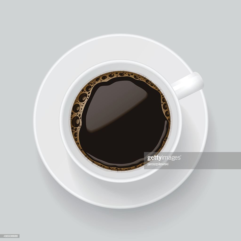 Top view on cup of black coffee.