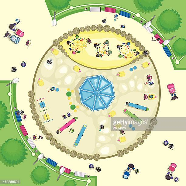 top view playground - school yard stock illustrations, clip art, cartoons, & icons