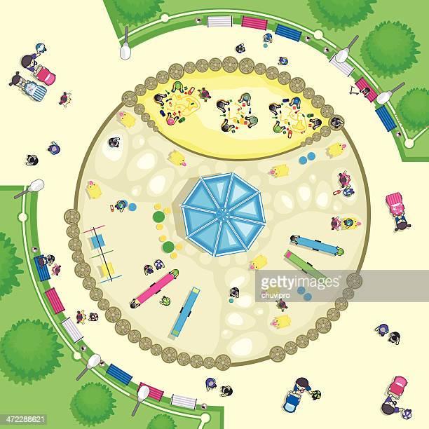 illustrazioni stock, clip art, cartoni animati e icone di tendenza di vista dall'alto del parco giochi - guardare il paesaggio