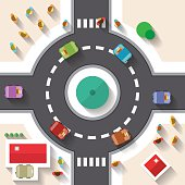 Top View Street Roundabout with Cars