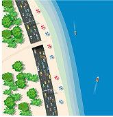 Top view urban road transport
