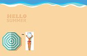 top view vector banner template with sunbathing girl on the beach