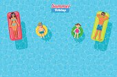 top view vector banner with sunbathing family