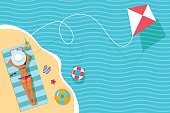top view vector banner with sunbathing girl, sea and kite