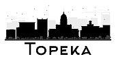 Topeka City skyline black and white silhouette.