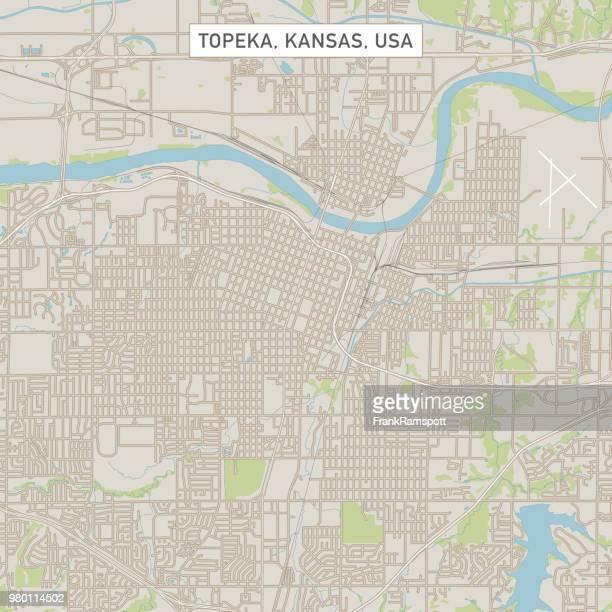 Topeka Kansas USA Stadtstraße Karte