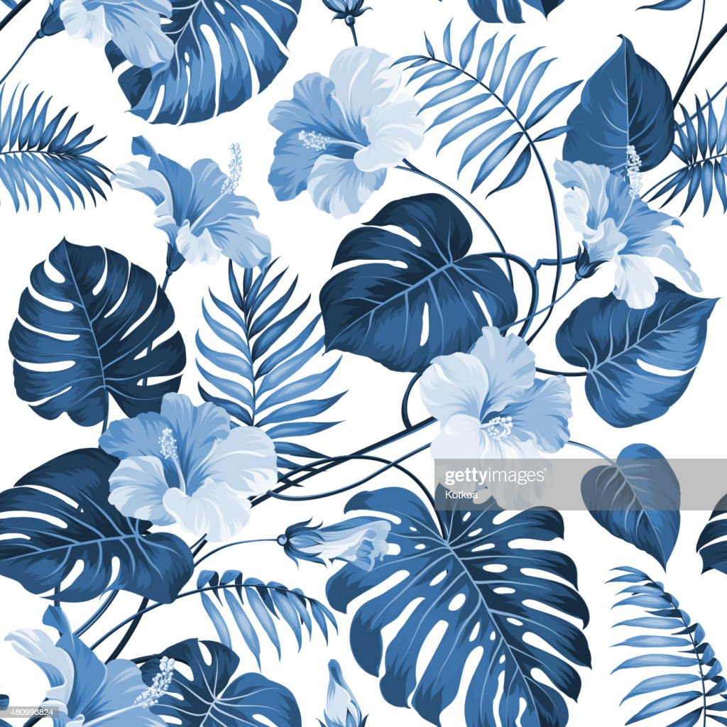 Topical palm leaves
