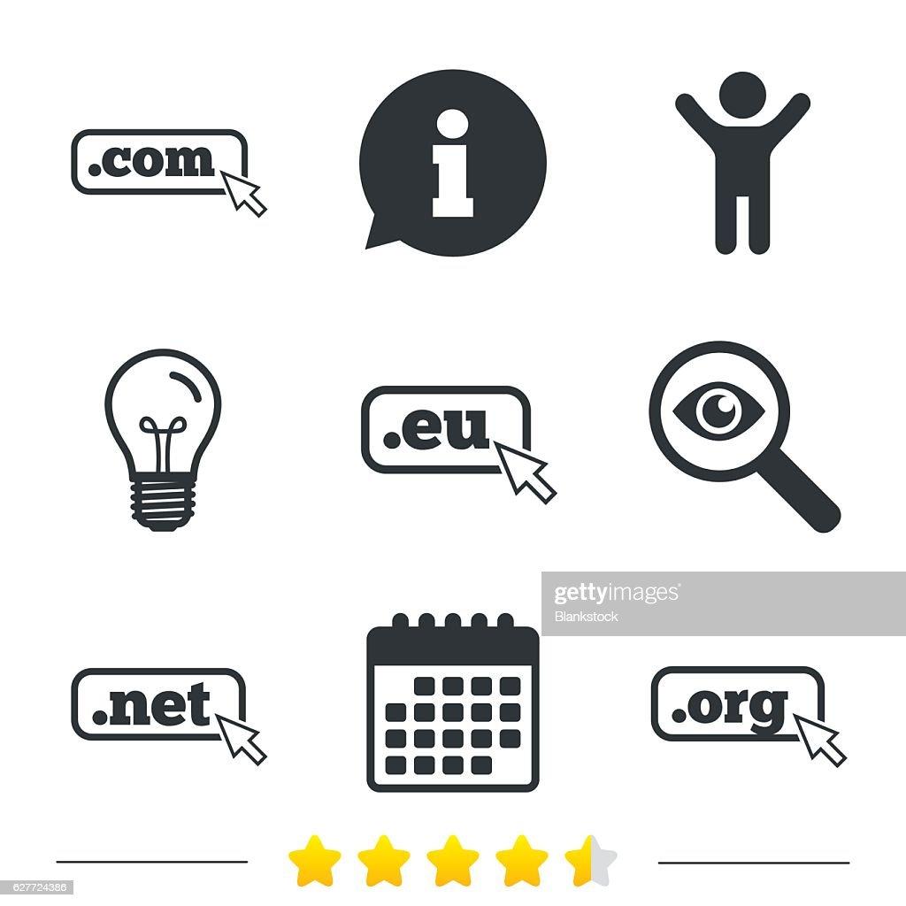 Top-level domains signs. Com, Eu, Net and Org.