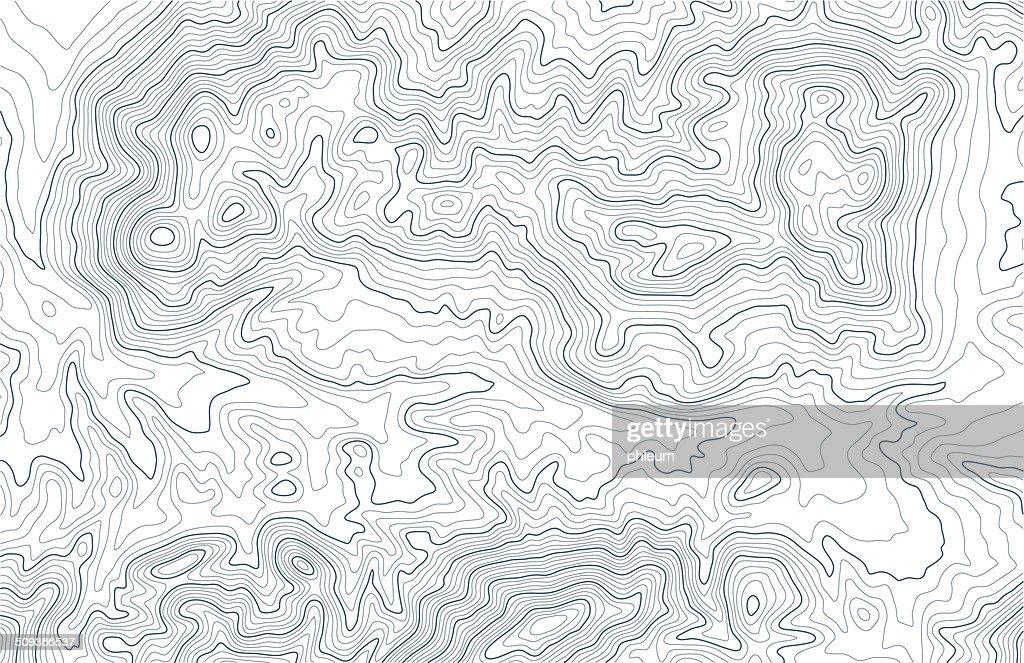 Topographic contour lines in mountainous terrain