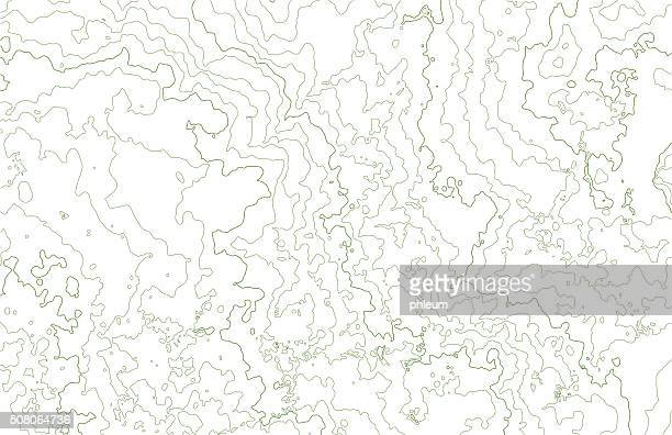 Topographic contours in hilly terrain