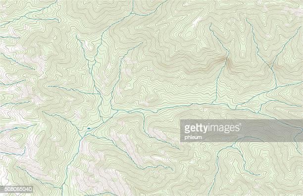 stockillustraties, clipart, cartoons en iconen met topographic contours with forest and streams - contourlijn