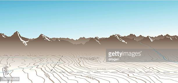 Topographic Map and Mountains Composition
