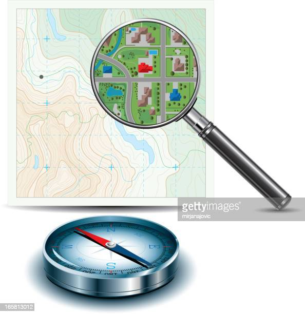 topographic map, magnifying glass and compass - east stock illustrations