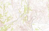 Topographic map with roads and forest