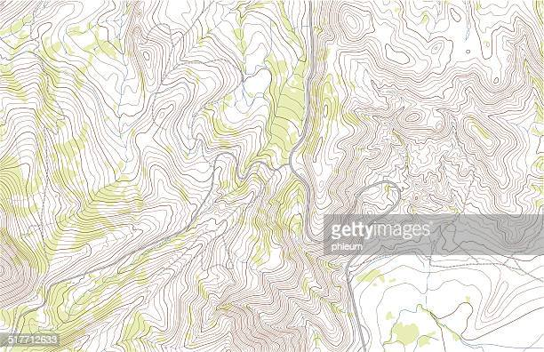 topographic map with roads and forest - cartography stock illustrations