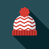 Toque Flat Design Canadian Icon with Side Shadow