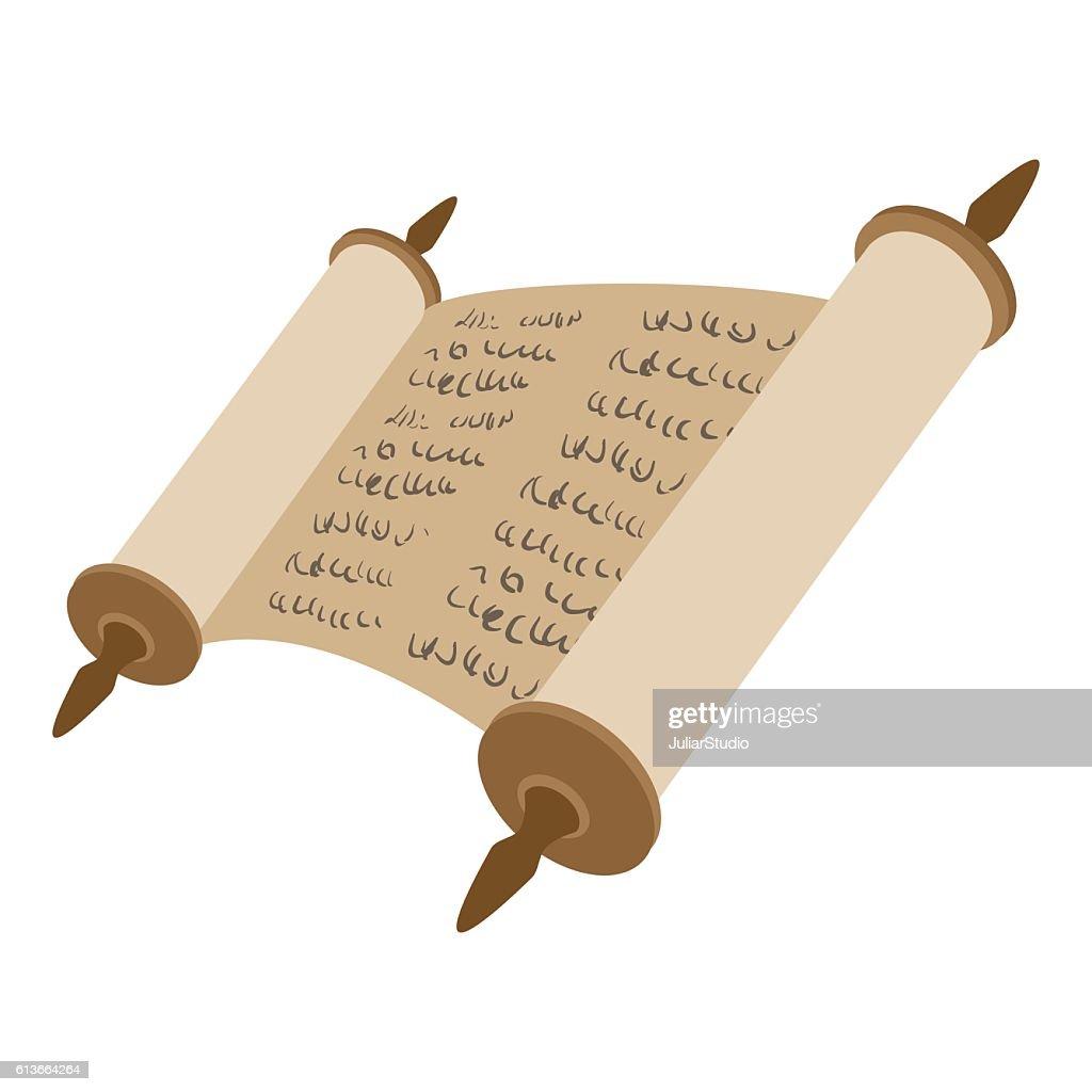 Torah scroll cartoon icon