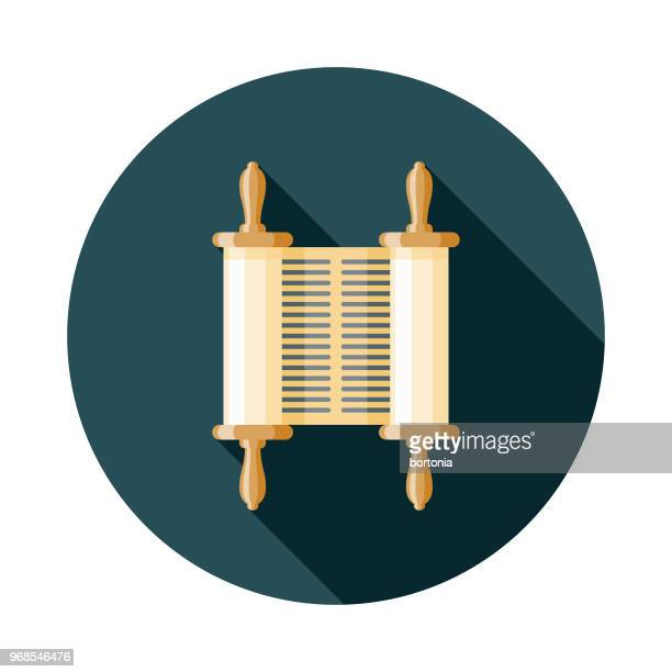 torah scroll flat design hanukkah icon - torah stock illustrations