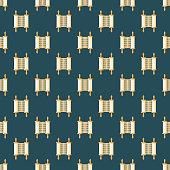 Torah Scroll Hanukkah Seamless Pattern