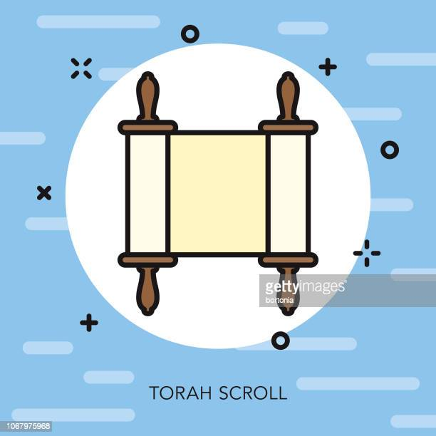 Torah Scroll Thin Line Hannukah Icon