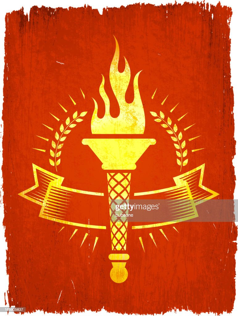 Torch Badge on royalty free vector Background : stock illustration