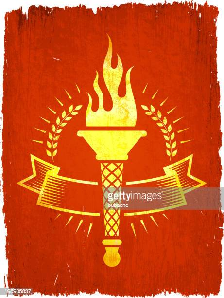 torch badge on royalty free vector background - sport torch stock illustrations, clip art, cartoons, & icons