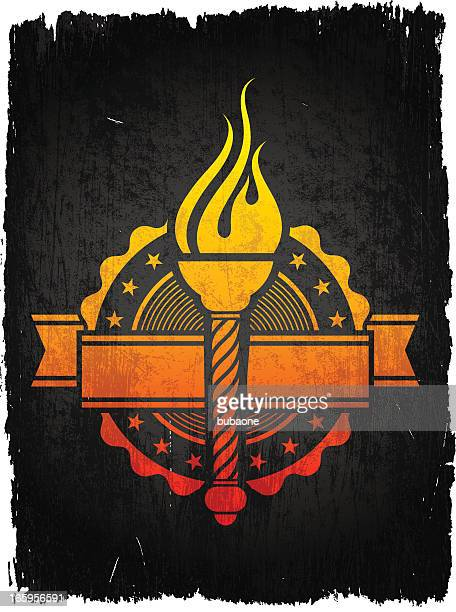 Torch Badge on royalty free vector Background