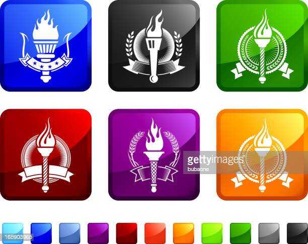 torch badges royalty free vector icon set stickers - sport torch stock illustrations, clip art, cartoons, & icons