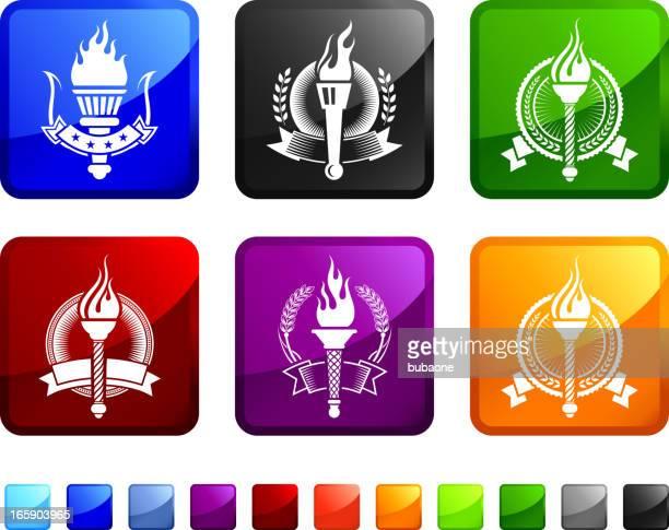ilustrações, clipart, desenhos animados e ícones de tocha medalhas royalty free ícone conjunto de adesivos vetor - great seal
