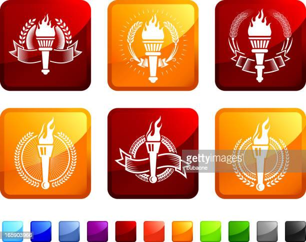 Torch Badges royalty free vector icon set stickers