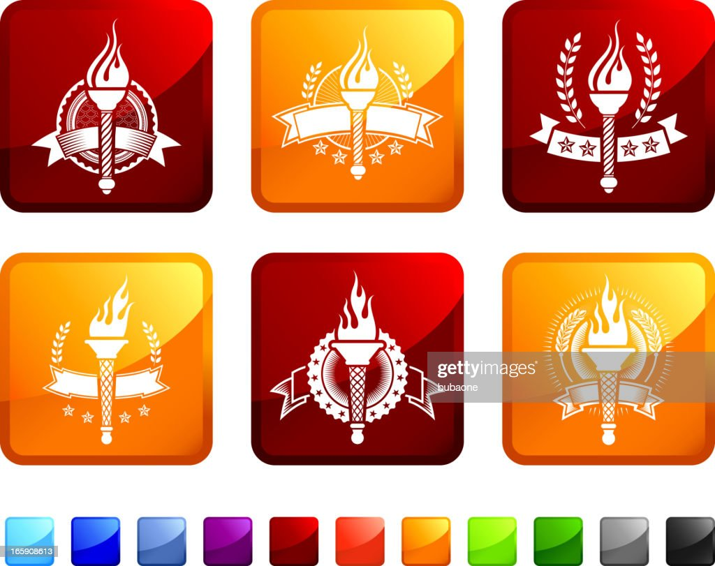 Torch Badges royalty free vector icon set stickers : stock illustration