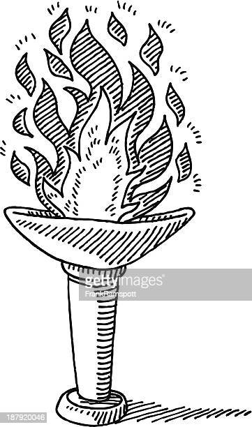 torch burning fire drawing - sport torch stock illustrations, clip art, cartoons, & icons
