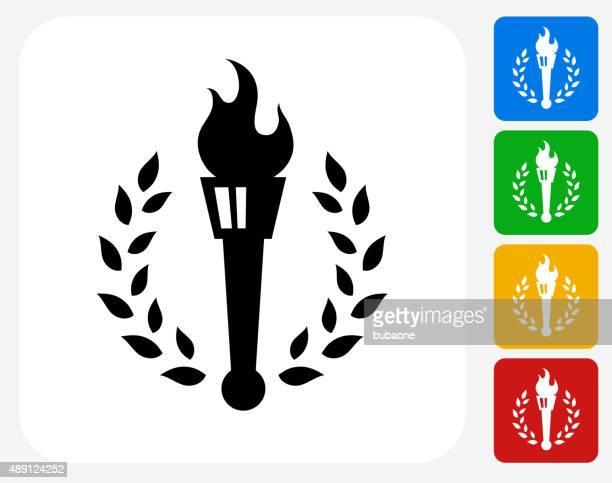 Torch Emblem Icon Flat Graphic Design