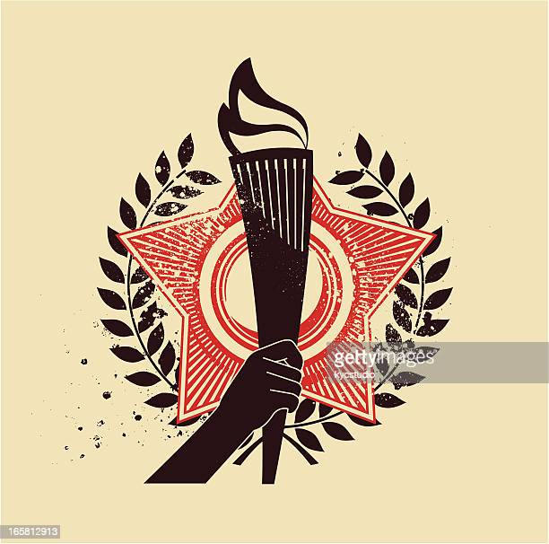 torch emblem - sport torch stock illustrations, clip art, cartoons, & icons